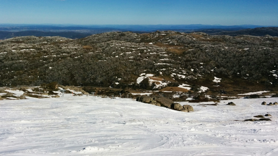Looking down from the top of Eyre T-bar at Perisher, my car is one of the ones at the bottom. Photographer: Brett Sargeant, D-eye Photography
